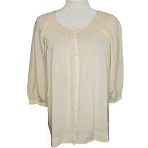VINCE smocked neck silk 3/4 sleeve blouse top